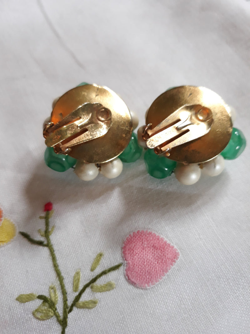 Vintage 1960s Made in Hong Kong - Green Glass - Faux Pearl Beaded Clip-on Earrings, Signed