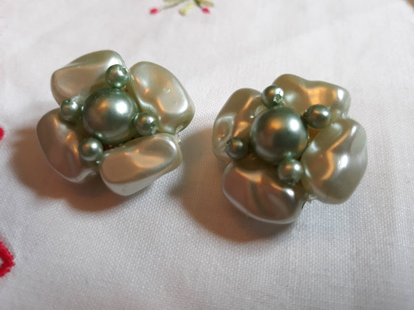 Vintage, 1950-60s Made in Hong Kong Light Blue - Green Clip-on Earrings, Mid-Century