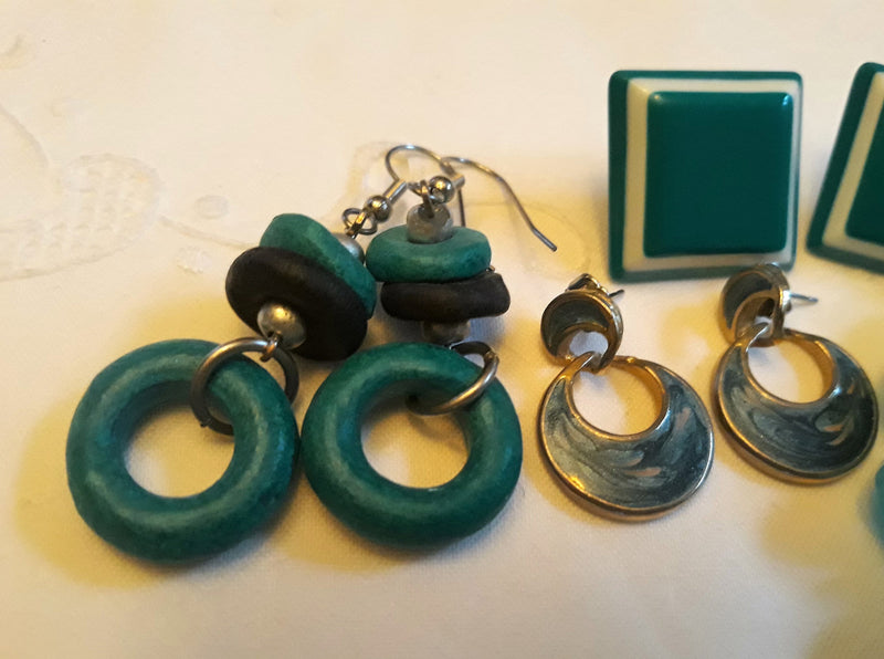 1980s Teal - Turquoise Jewelry Lot - 3 Pairs of Pierced Earrings, One Teal Plastic Bead Bracelet