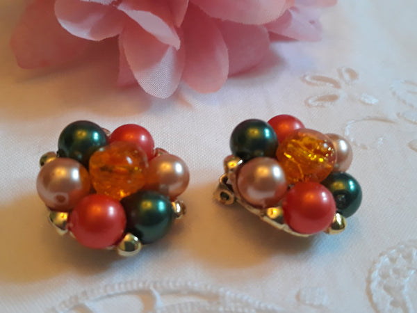 Vintage, unsigned fruit salad 1950s clip-on earrings, ORANGE, , FAUX PEARL with green