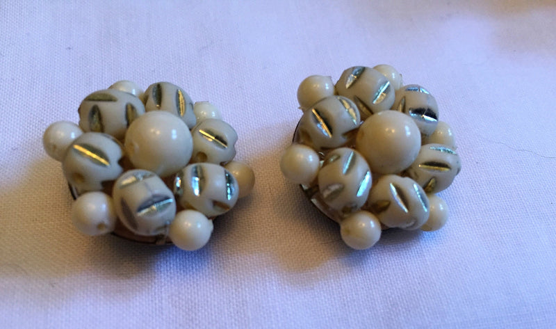 Vintage Late 1940s - Early 1950s Antique White/Gold Clip-on Earrings - Made in West Germany