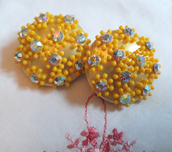 Vintage, Large Gold, 1960s Earrings, Floral with Aurora Borealis, Stunning, Mid-Century  Modern
