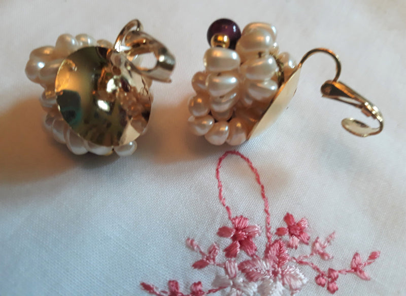 Vintage, 1960s-50's Pearl Bridal Clip-On Earrings - Purple & Gold Accent,  Sarah Coventry