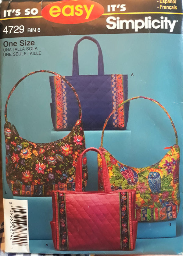 Vintage Purse Pattern - New Unused Simplicity 4729 Bin 6 - Make your own Purses and handbags