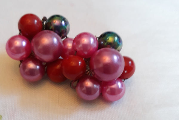 Fruit Salad Clip-on Earrings, 1950s, Made in Japan, Signed, Hot Pink, Pearl and Red