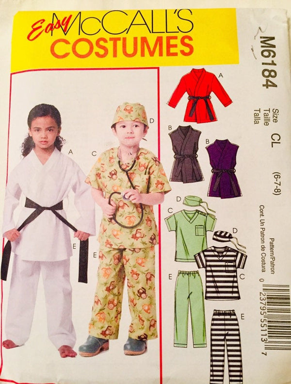 McCall Children's Costumes Pattern - Karate, Doctor, M6184/cl pattern Size 6-8. Uncut