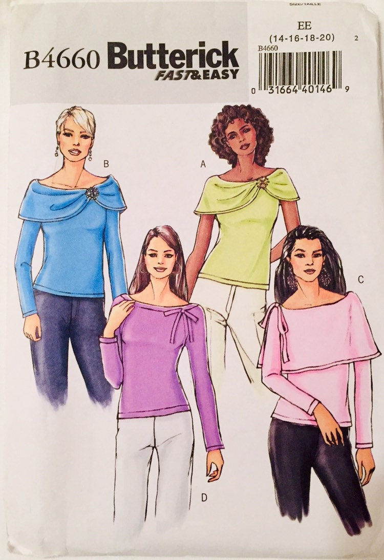 Butterick B4660 Woman's blouse sewing pattern. EE Size 14, 16, 18, 20. Uncut, Made in the US, 2005