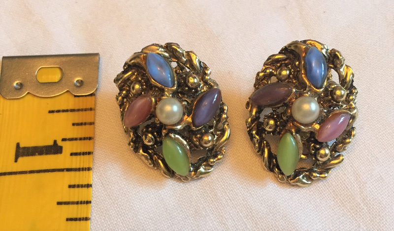 Vintage 1950's Jelly Belly Stone, Moonglow, Clip-Ons - Blue, Green, Pearl, Purple in Gold