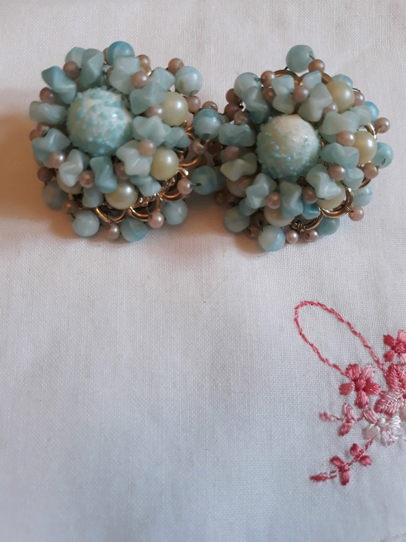 Vintage, Robin Egg Blue, 1950s-60s, 1.5 Inch Lucite Beaded Earrings