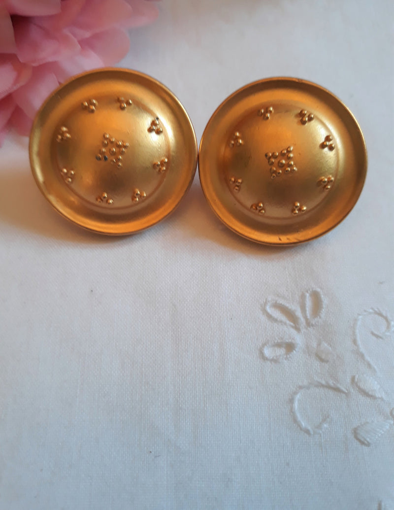 Liz Claiborne, Large Gold Detailed, Button-type Clip-on Earrings - Elegant, Signed Liz Clairborne