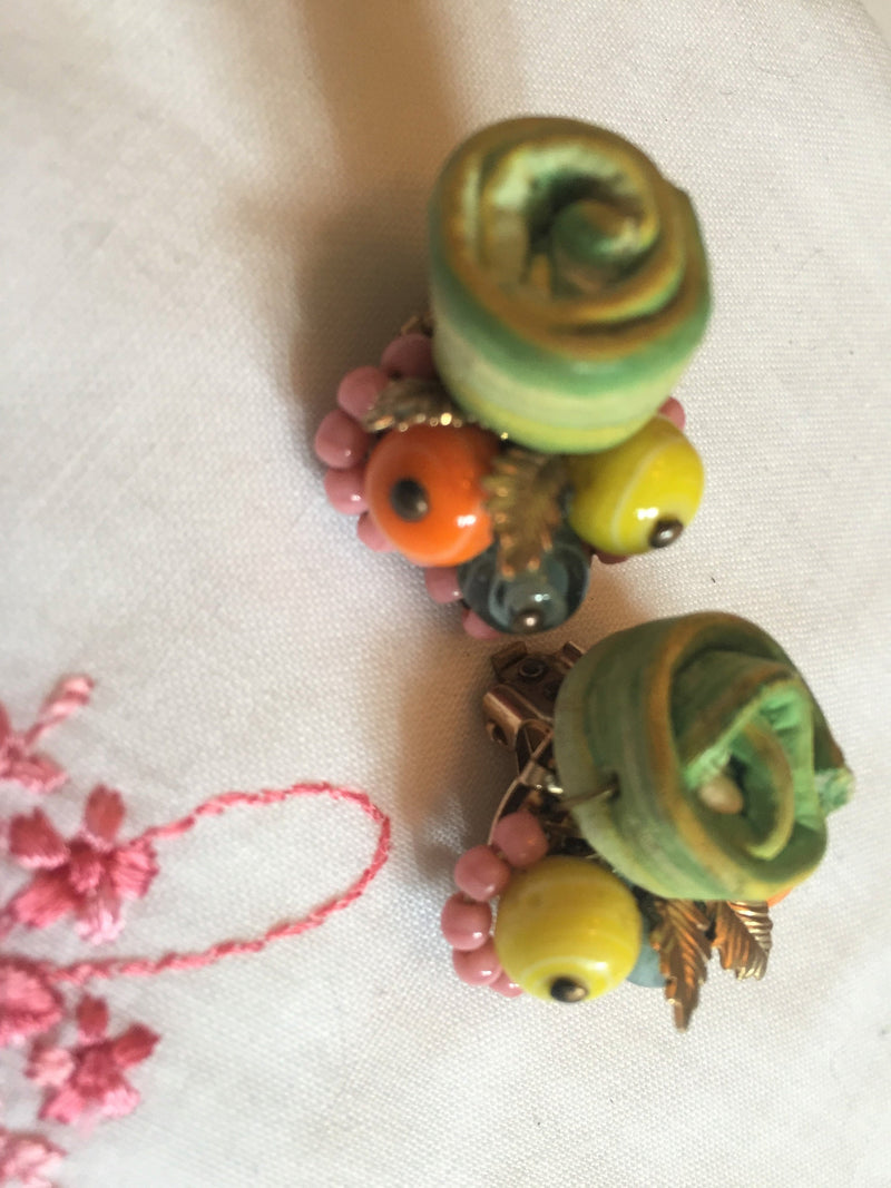 Vintage, 1950s, Fruit Salad Clip-On Earrings, Stunning, Hand Made, Intricate Fruit Basket, Gorgeous