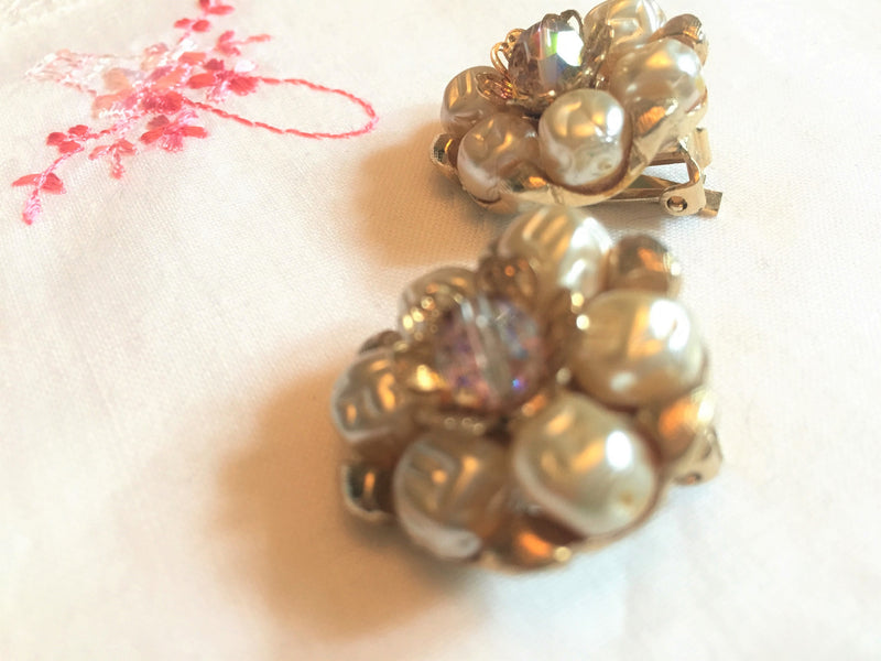 Vintage 1950s Pearl, Gold and Aurora Borealis Clip-On Earrings, Stunning, Wedding, Anniversary