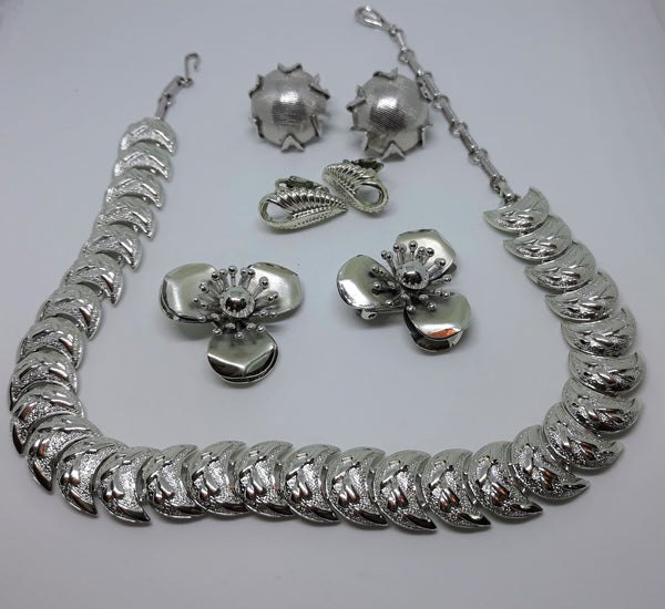Coro Silver Jewelry Set - Mix and Match - Mint Condition - 1950s-60's Coro - Silvertone