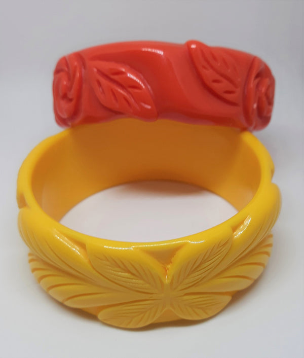 Tiki Bangles - Vibrant Yellow and Atomic Tangerine - One Vintage Lucite and One Faux Resin - Carved