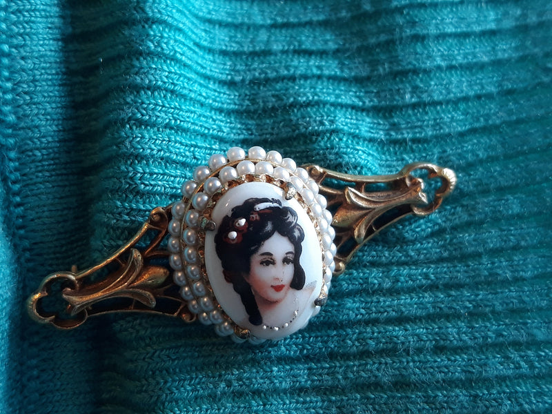 Stunning Limoges Porcelain Cameo Pin, Signed, Elegant, Gold Tone Bar Pin with Pearls, Signed