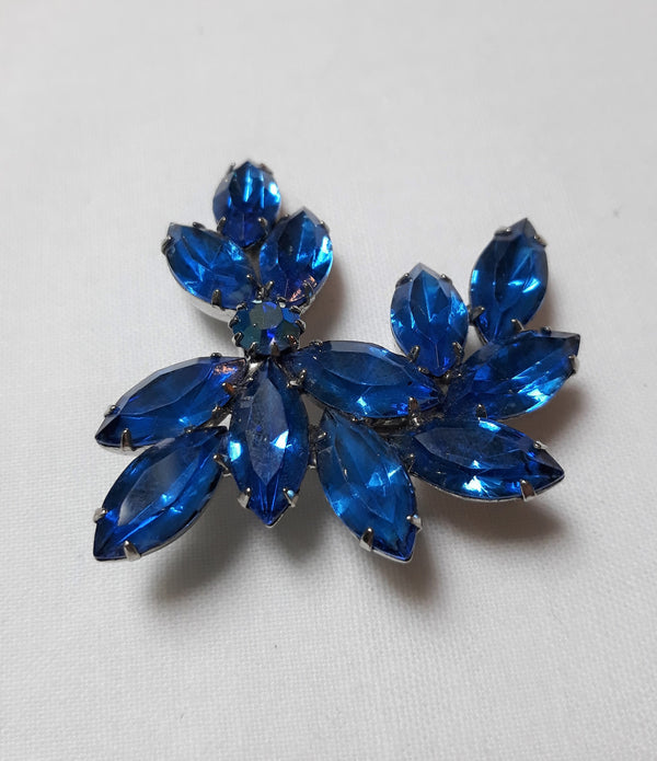 Vintage Royal Blue Brooch, Stunning Marquis Rhinestone, Pronged Stones, Cluster of Leafs