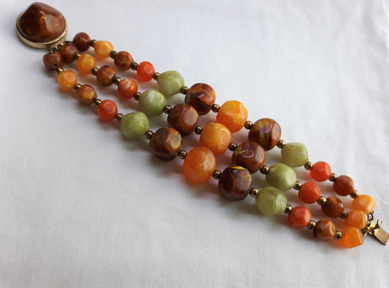 Stunning Vintage LARGE Glass Beaded Demi Parure Necklace and Bracelet, Mid Century Modern, Unsigned,
