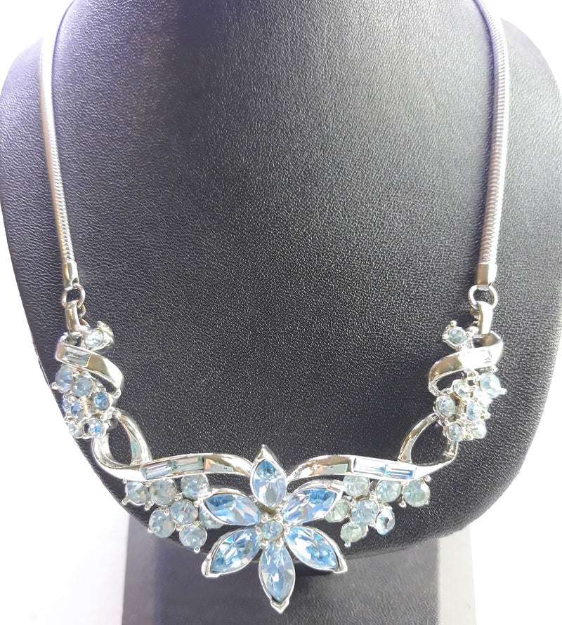 Coro NEW old stock Princess Necklace, Bracelet & Earring Set, Silver Blue Marquis Rhinestones