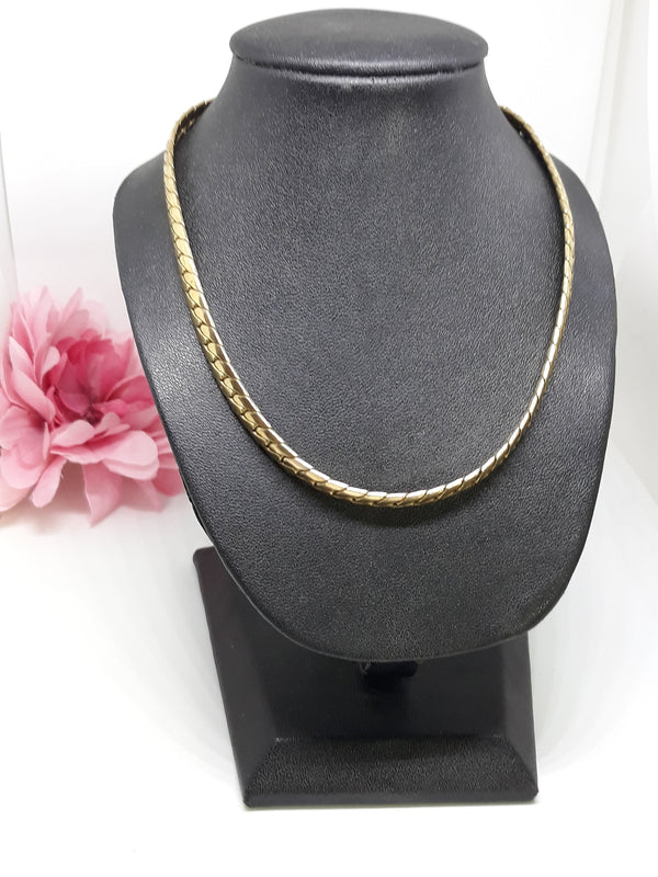 Lisner Signed, Gold Tone, Cleopatra Style Choker Necklace, Vintage 1960s, Mid Century, Small