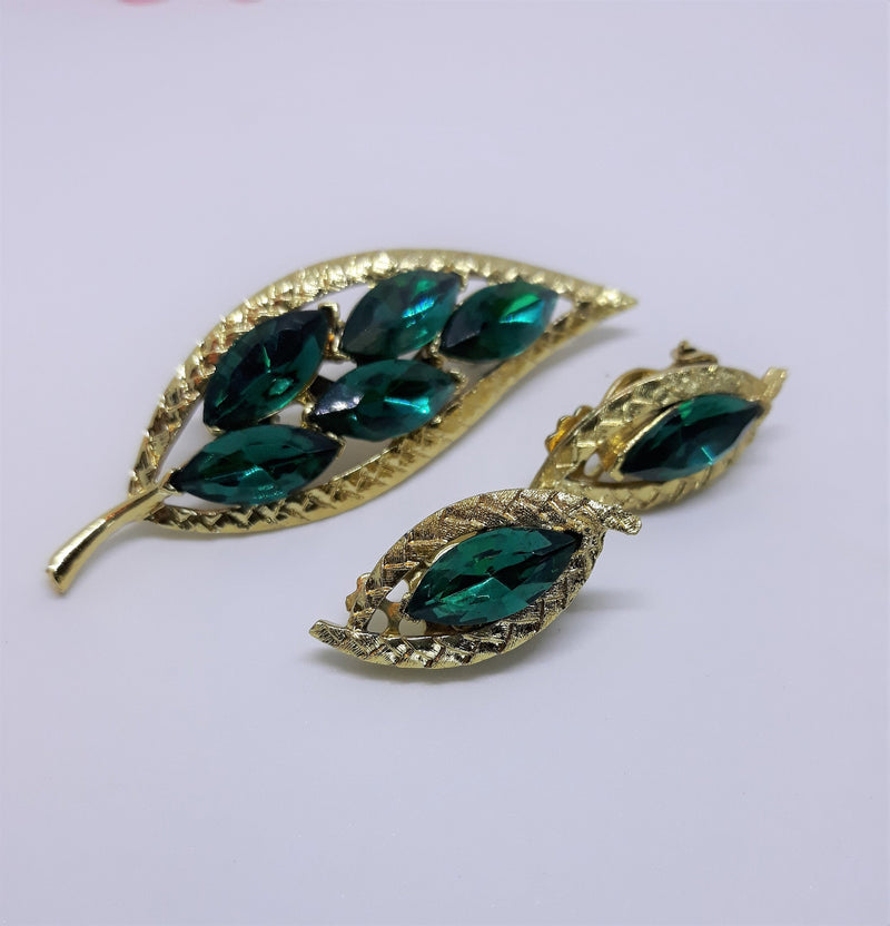 Vintage Emerald Leaf Set Marquis Rhinestone - Unsigned, Brooch and Clip-on Earrings