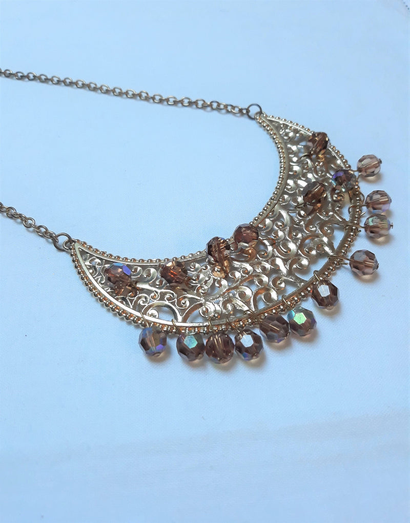 Vintage Amber and Gold Tone BIB NECKLACE - Stunning with Amber Aurora Borealis Stones, Egyptian Like