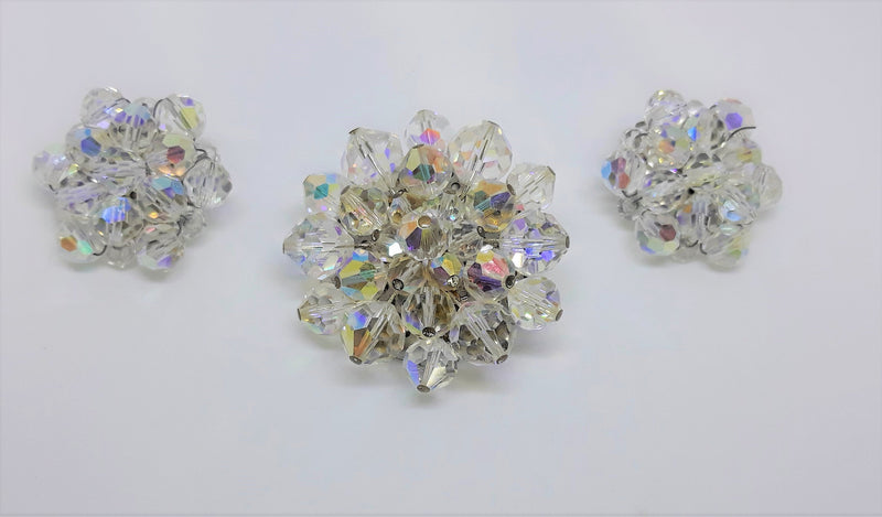 Vintage Aurora Borealis Brooch and Matching Earrings, Sparkly, Mid Century Elegance, Glass Beads
