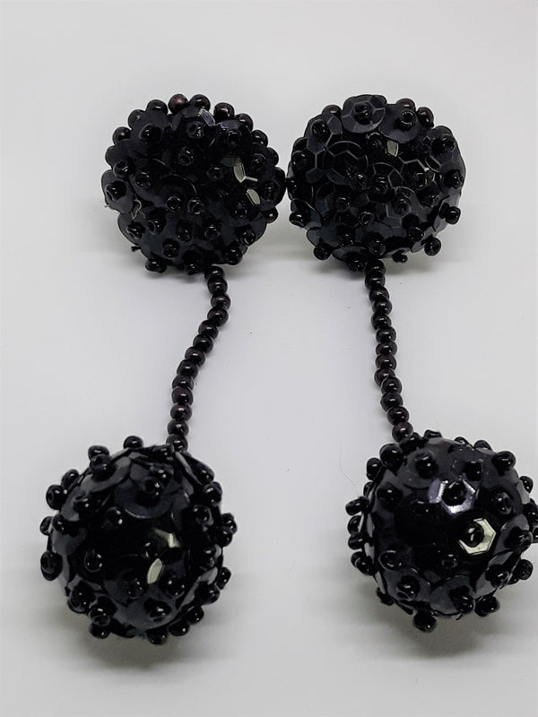 Vintage Black, Dangle Balls, 1960s Clip-on Earrings, Mid Century,  Lucite Black