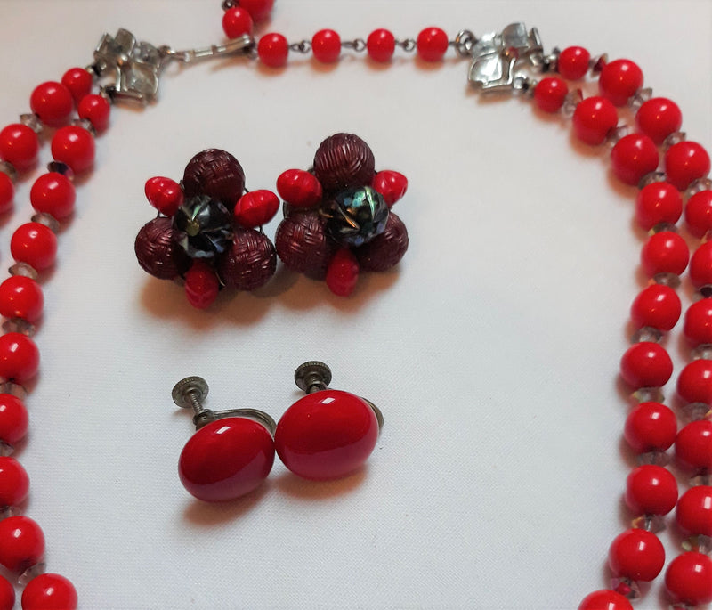 3 Vintage Red Clip-on Earrings with Necklace - 1950's, Made in West Germany