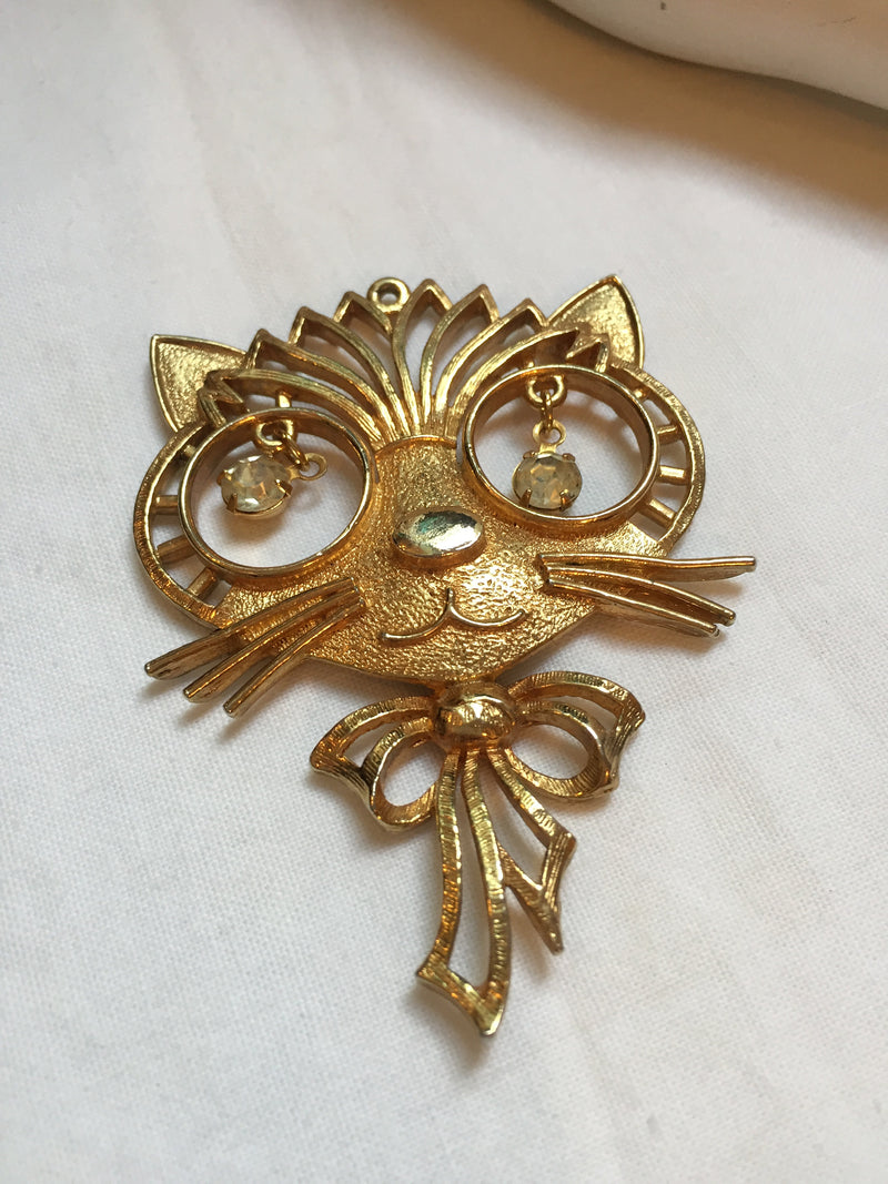 "Large Rafaelian hallmarked, CAT pendant with dangling rhinestone eyes, 1960s, 3"" Gold Tone"