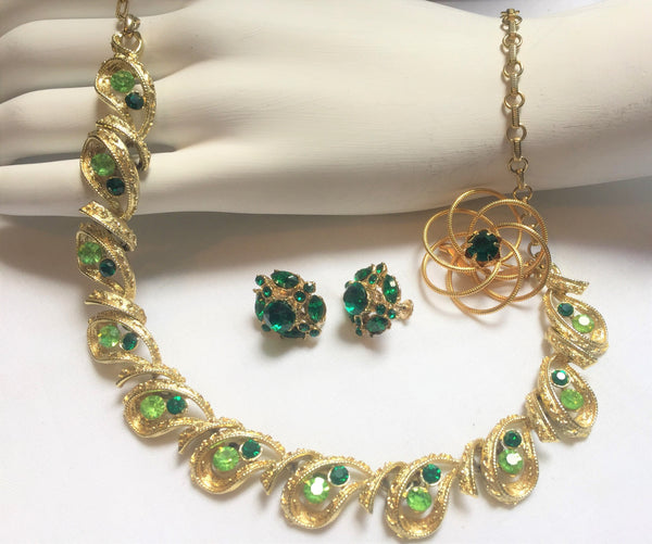 CORO signed, Emerald and Green Rhinestone and Gold, NECKLACE , Brooch and Clip-on Earrings
