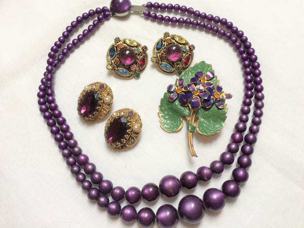 Purple Jewelry Set - Brooch, Moonglow Necklace and Two Clip-On Earrings Made in Austria, Germany