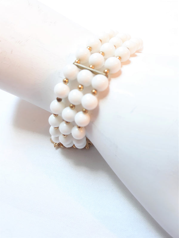 Stunning 1940s, Early 1950s Triple Strand White Beaded Faux Pearl Bracelet