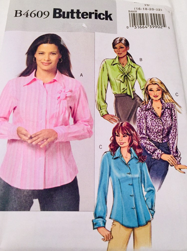 Butterick B4609, Uncut, Blouse Sewing Pattern, 2005, Made in the USA, US size 16-22