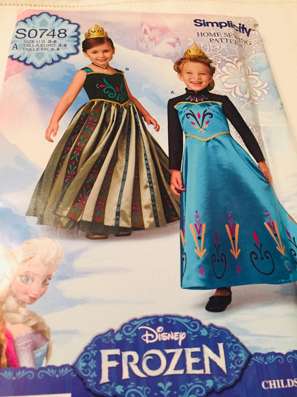 Simplicity Home Sewing Pattern S0748, Disney Frozen, Girl's Size 3-8, Child's Costume