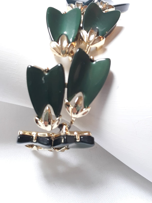 Signed Lisner, Dual Thermoset Green Leaf Cabachon Bracelet Gold Tone, 1950-60's