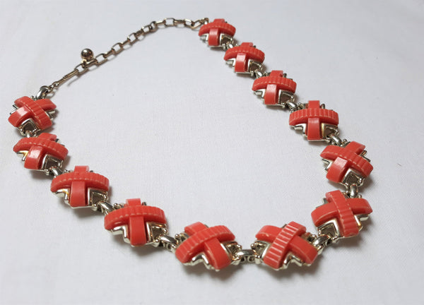 Kramer Signed, Burnt Orange Thermoset Cross Pattern Necklace, 1950s - 1960s, Mid CENTURY Modern