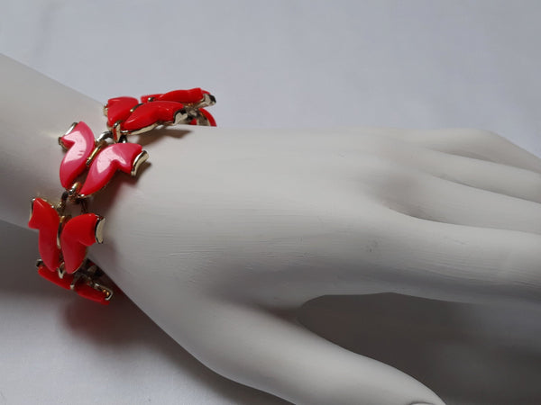 Stunning Unsigned Coro Red, Thermoset Bracelet with Unusual Cabachons, Mid Century Modern, Stunning