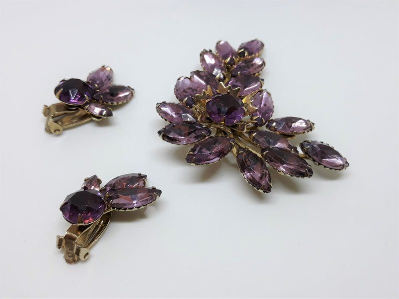 Purple Lavender Marquis, Rhinestone Leaf Brooch w/ Clip-on Earrings. Juliana