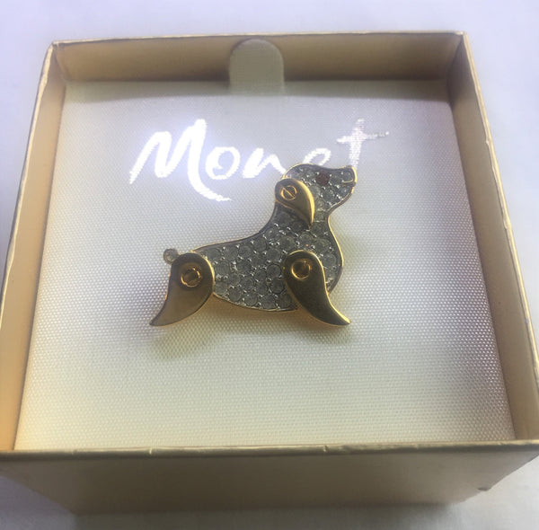 Vintage MonetGold Tone Dog Pin - NEW deadstock - never used in original BOX. A true collectorès item