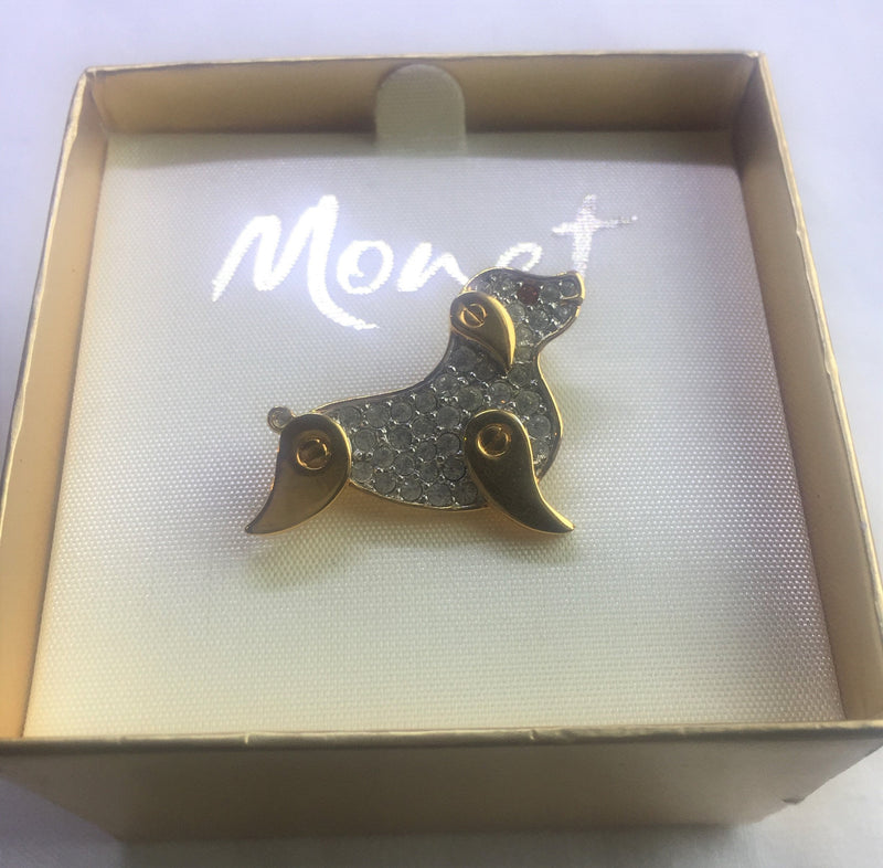 Vintage Monet Gold Tone Dog Pin - NEW deadstock - never used in original BOX. A true collectorès item