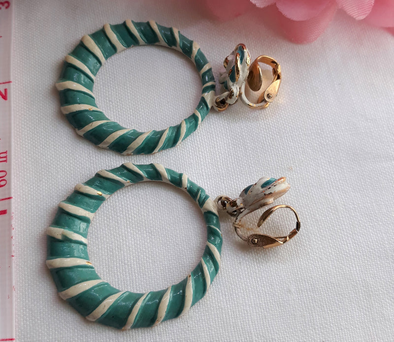 Stunning, LARGE, Vintage Turquoise & White Striped, Circle Dangle Earrings, Late 1950s - early 1960s