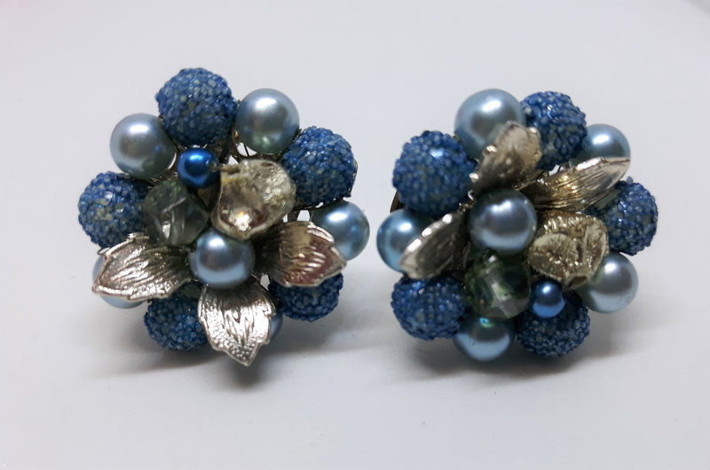 Stunning Blue and Silver Clip-on Earrings, 1950's Floral Design, Earrings with Silver Filigree