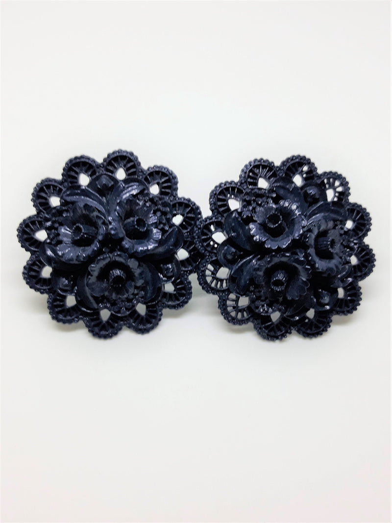 Stunning 1960s, Dark Blue, Black, Lucite  Earrings, Large 2 inch Floral Pattern, Clip-ons