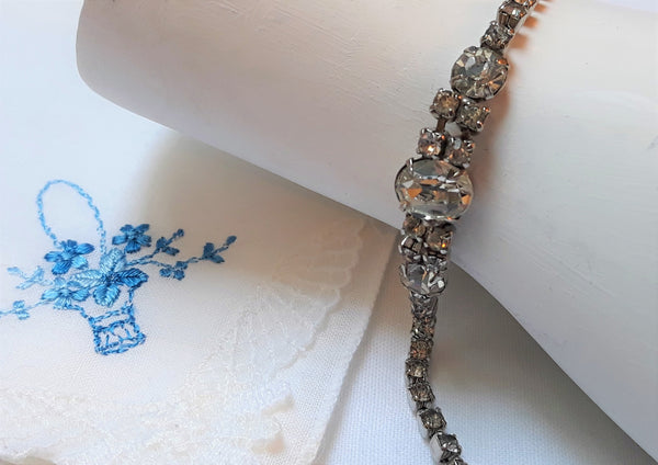 Vintage Rhinestone Bracelet, 1960s STUNNING STATEMENT piece, Hollywood Glamour