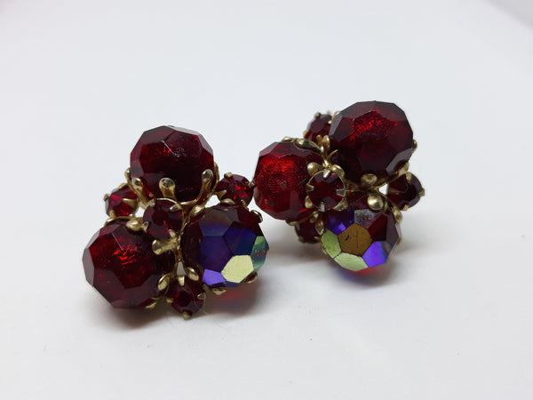 VOGUE Signed, Red Rhinestone Pronged, Clip-On Clusters, Beaded Glass with Aurora Borealis