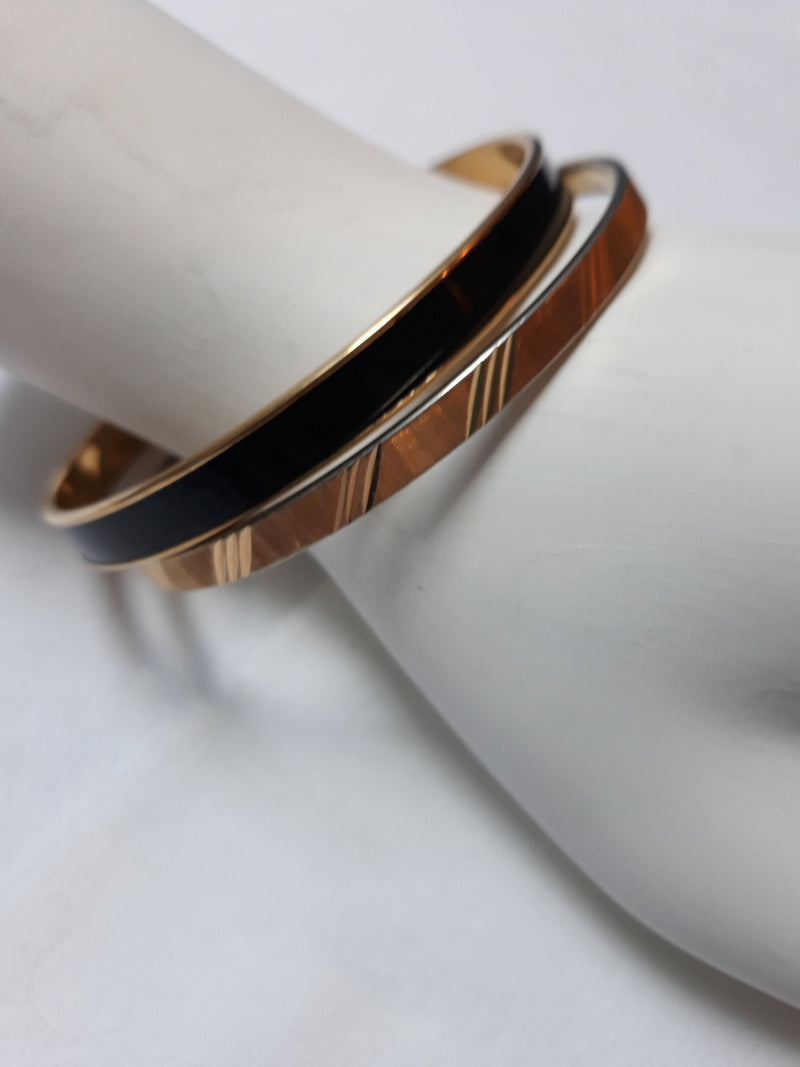 "Monet Bangles x 2 - Gold Toned and BLACK, Spinner Bangles 3"" - 1990s or earlier"