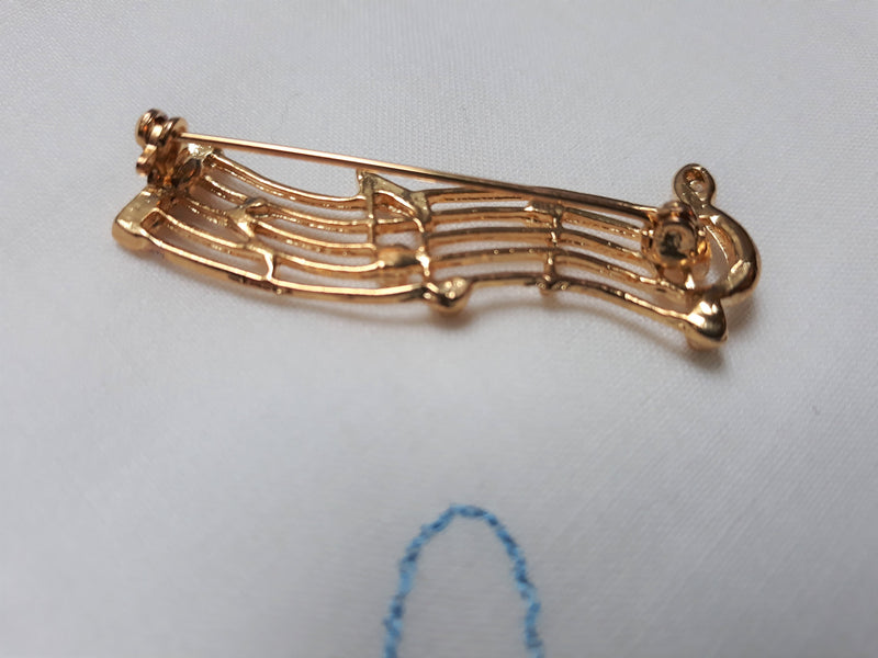 Gold Music Note Brooch, Vintage with Rhinestones, Elegant, 1980s or older, Musical Souvenir Brooch