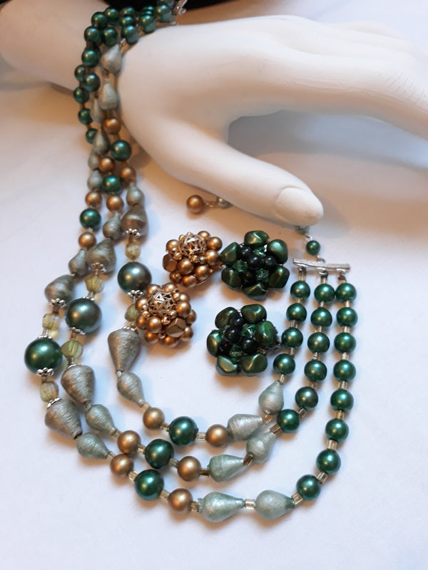 GREEN/GOLD Jewelry - Japan Necklace, Hong Kong Gold Earrings, Green Clip-ons