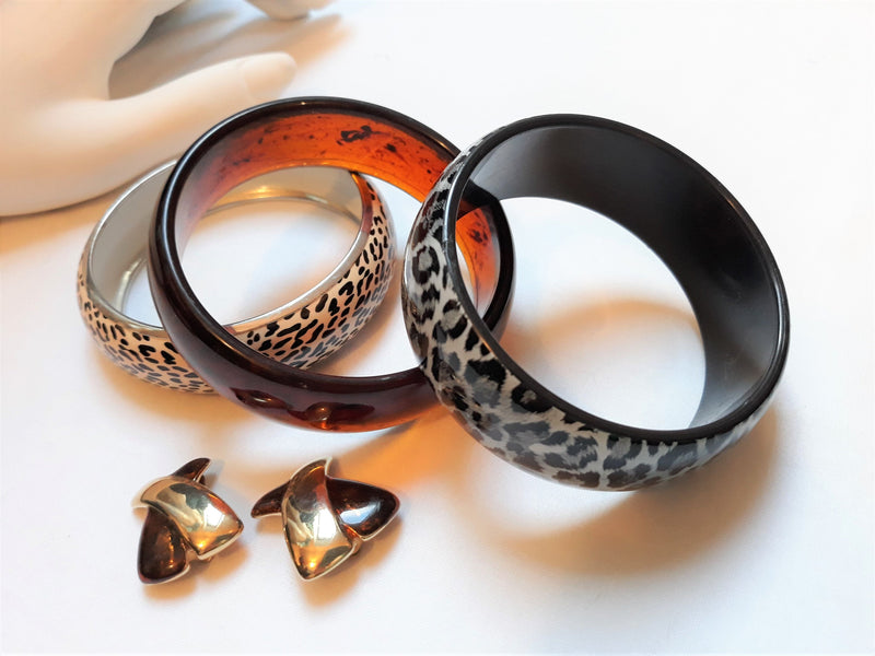 Vintage Faux Leopard Print & Faux Cheetah Bangles - Set of three with clip-on earrings