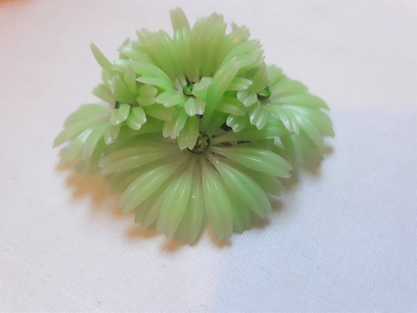 1960s Celluloid, Green Brooch with Rhinestones,  Flower Power, 1960s Green